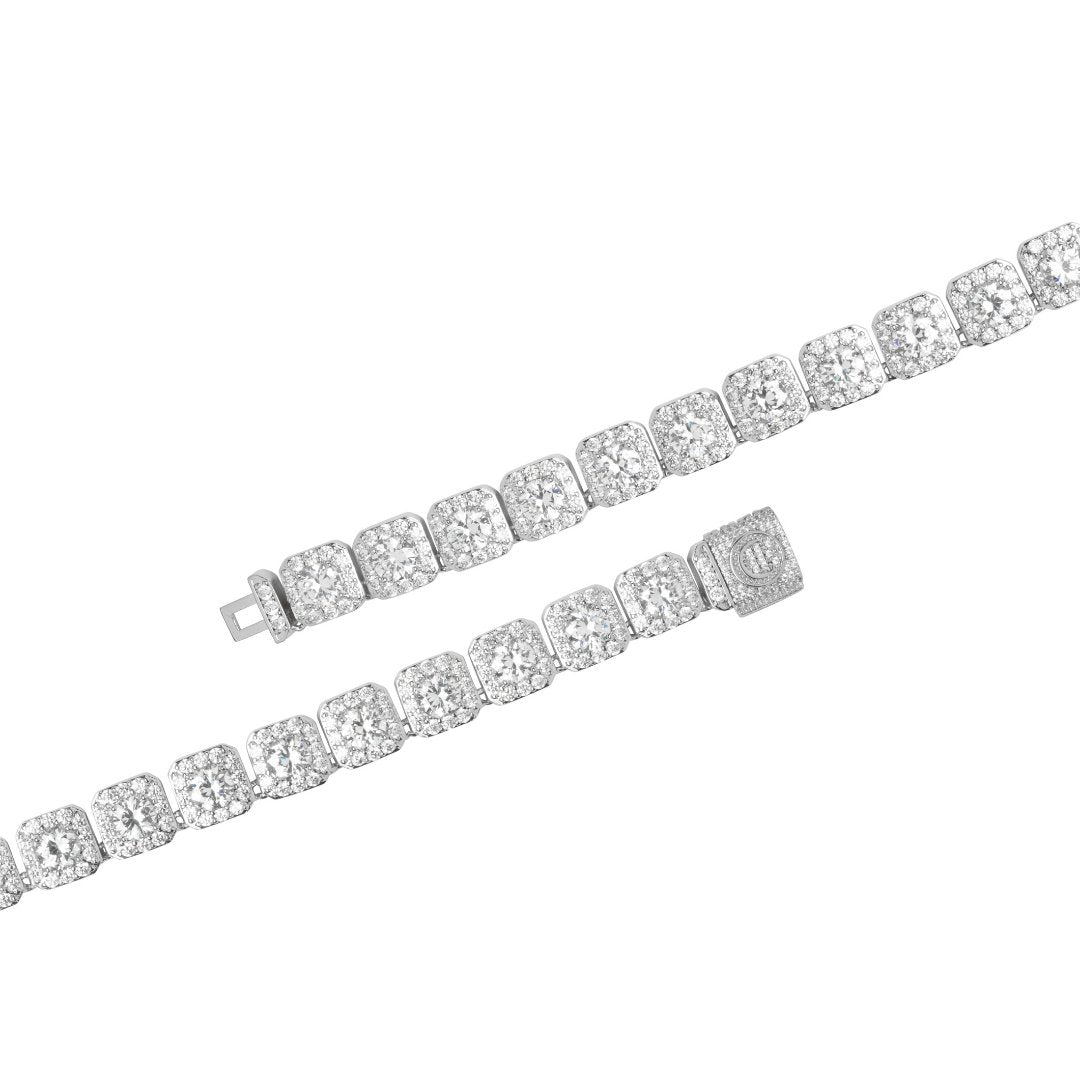 10mm Clustered Tennis Bracelet - White Gold - IceTheGang