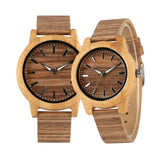 Couple Wood Watches Creative Corkwood Analog Display Wooden Clock Quartz Movement Lovers Wristwatch Genuine Leather Watchband