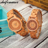 Shifenmei Lovers Watch Couples Watches Full Wood Watch Mens Fashion Wooden Women Dress Clock in Quartz Wristwatch Christmas Gift