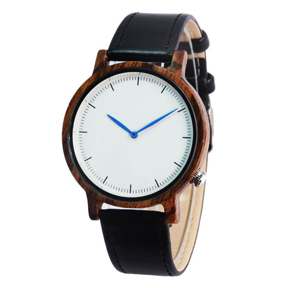 Fashion Walnut Wooden Watch men's Dress Watch leather strap white face blue needle Leather Watchband Drop shipping