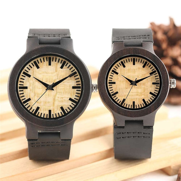 Top Gifts for Lovers Couple Luxury Royal Beige Dial Ebony Wood Quartz Watch Natural Wooden Black Genuine Leather Valentine Gifts