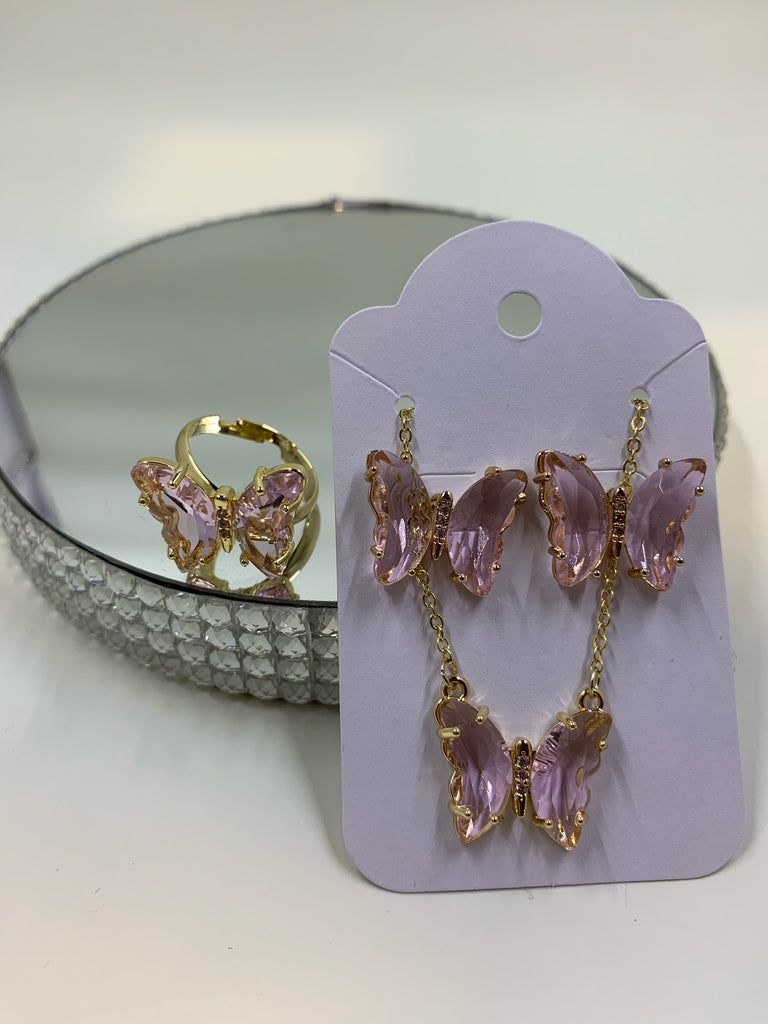 Crystal Butterfly Set -pink