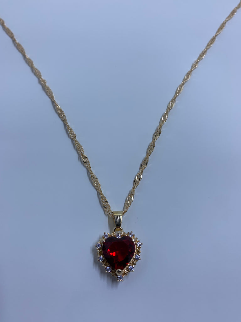 Stole My Heart Necklace -ruby