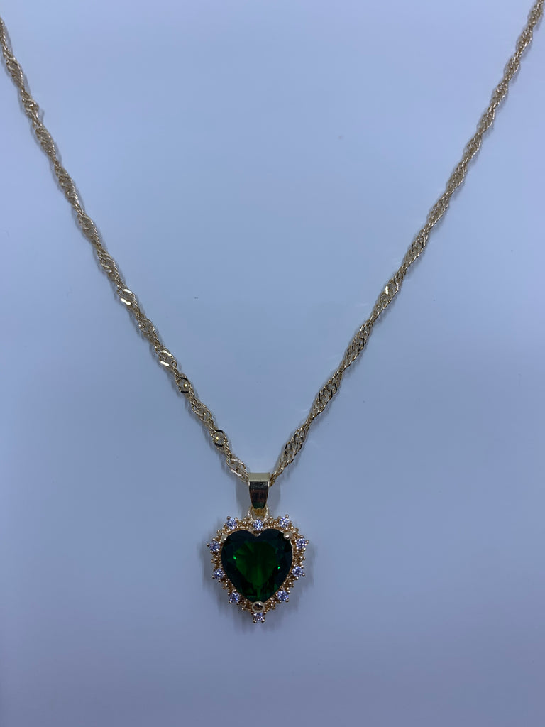 Stole My Heart Necklace -emerald
