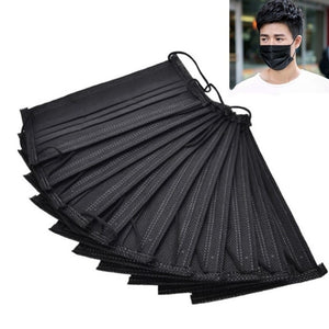 50Pcs Disposable Mask Protection Design Hypoallergenic Dustproof Windproof Mask Black