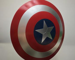 Weapon -1:1 Captain America Aluminum Shield w/ Black Wood Display Stand Cosplay