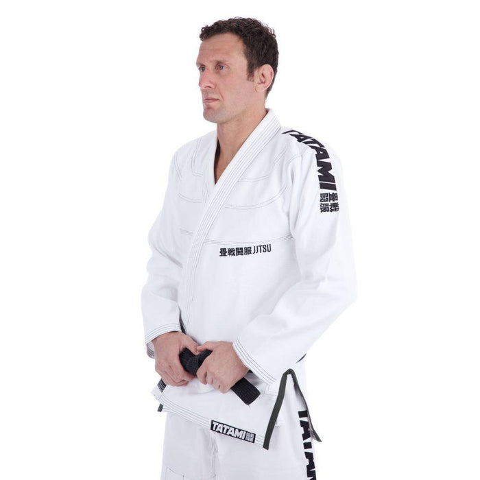 Tatami Essential BJJ Gi white front closeup side left