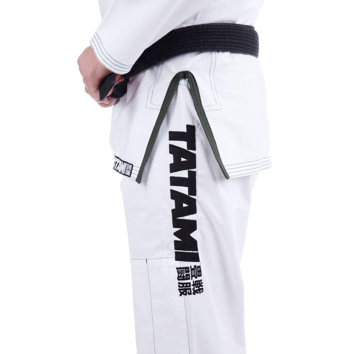 Tatami Essential BJJ Gi white front closeup pants side left