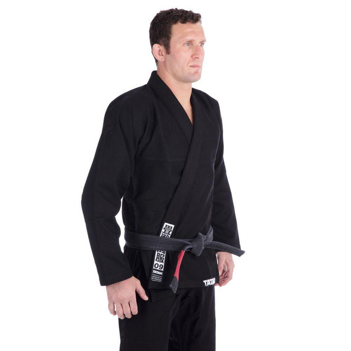 Tatami Essential BJJ Gi black front closeup side right