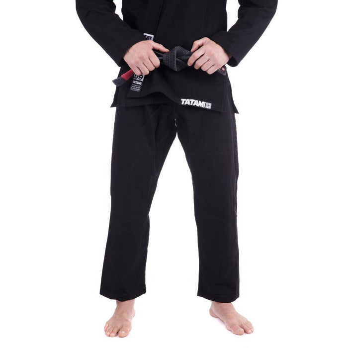 Tatami Essential BJJ Gi black front closeup pants