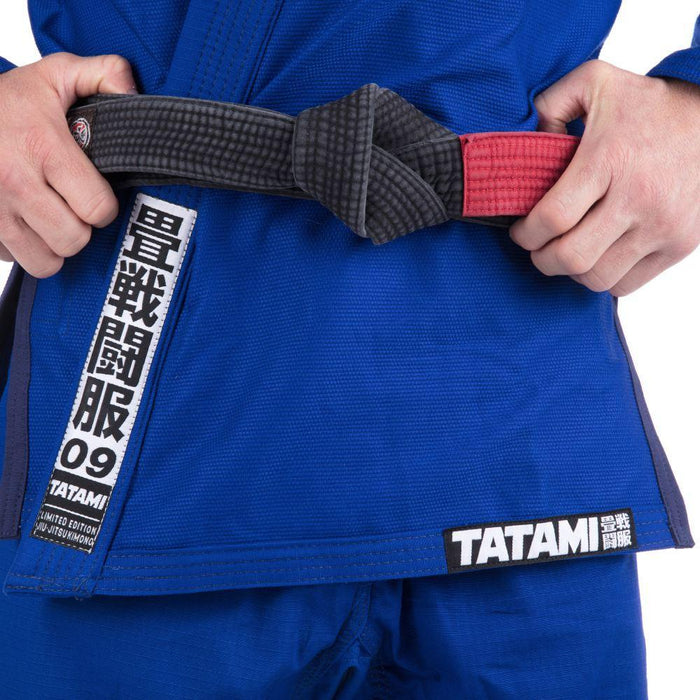Tatami Essential BJJ Gi blue front closeup jacket logo belt