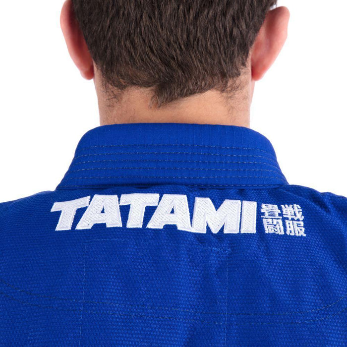 Tatami Essential BJJ Gi blue back closeup jacket