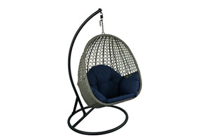 Chaise suspendue en rotin noire et Bleu Navy Collection Cape Cod
