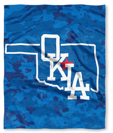 Dodgers OKLA Silk Touch Camo Blanket