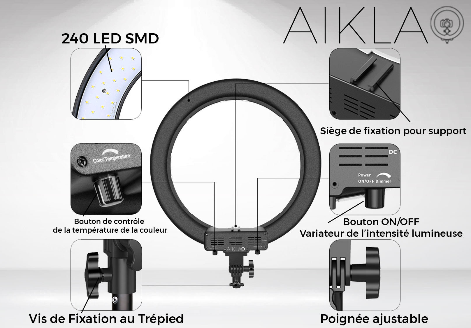 "18"" LED Ring Light - Diamond Irradiance I - Aikla 