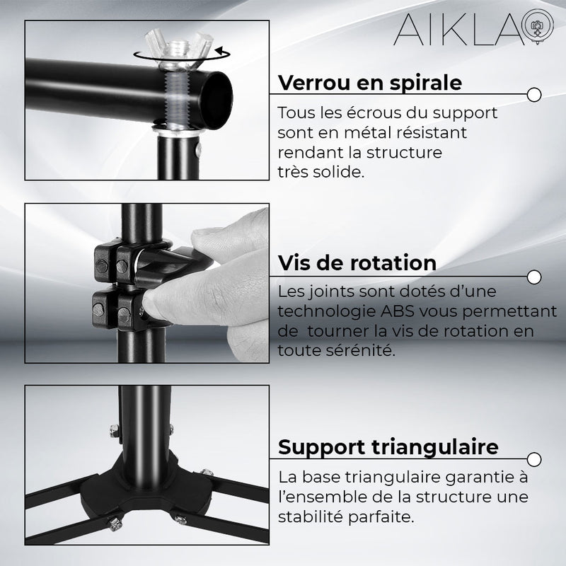 Support de Fond Studio télescopique - Aikla | Ring Light & Softbox