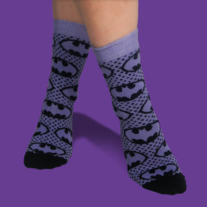 Batman purple 2pck socks