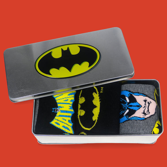 Batman 3 pack socks in a metal tin