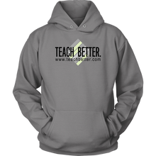 Load image into Gallery viewer, Teach Better Logo Hoodie (Available in Grey, Pink, and Orange)