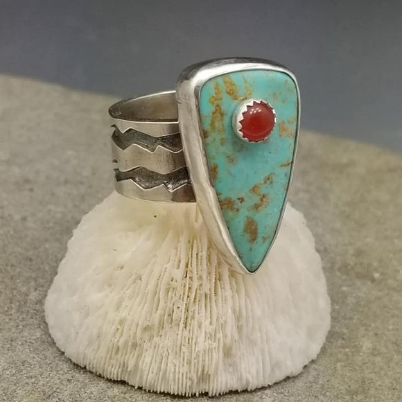 #8 Turquoise and Carnelian Stone on Stone Ring