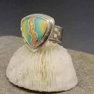 Cloisonne Shield Ring Silver and 14k Gold