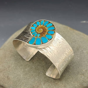 Ammonite and Sleeping Beauty Turquoise Cuff