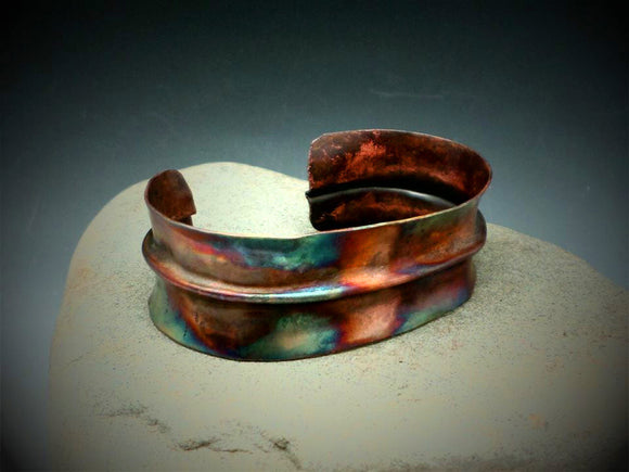 Rustic Forged Copper Cuff Bracelet Copper Flame Painted Forged Metal Fold Formed