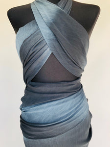 Grey and Blue Wrap - Glasgow Fabric Store