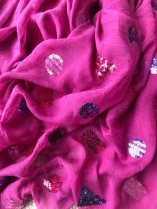 Sequinned Silk Georgette - Glasgow Fabric Store