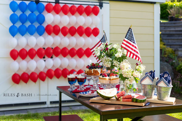 Riles & Bash party shop_American Flag Balloon wall_red white and blue balloons_4th of july balloons_link balloons