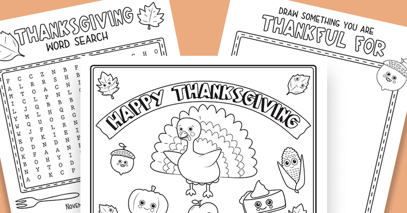 Free Printable Thanksgiving Worksheets for Kids