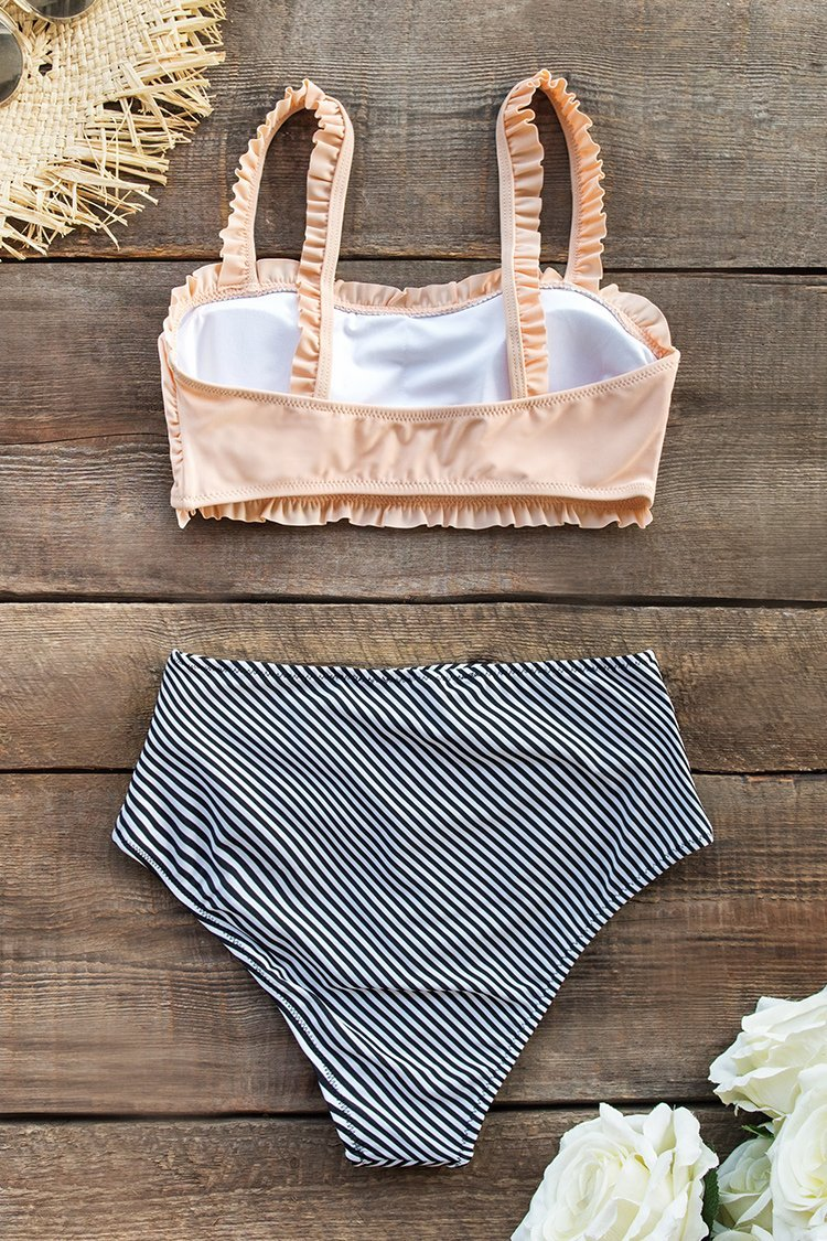 Ruffled Bandeau Bikini With High-Waisted Bottom
