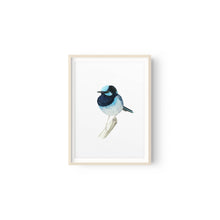 Load image into Gallery viewer, winter-owls - Superb Blue Fairy Wren Watercolour Print - Winter Owls - Fine Art Print