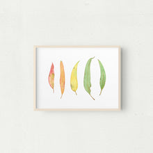Load image into Gallery viewer, Colourful Gum leaves Watercolour Print, A4 or A3 Eucalyptus Leaf Wall Art - Winter Owls