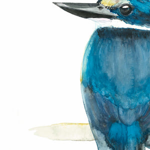Turquoise Kingfisher Painting by Jen Ross (Winter Owls)