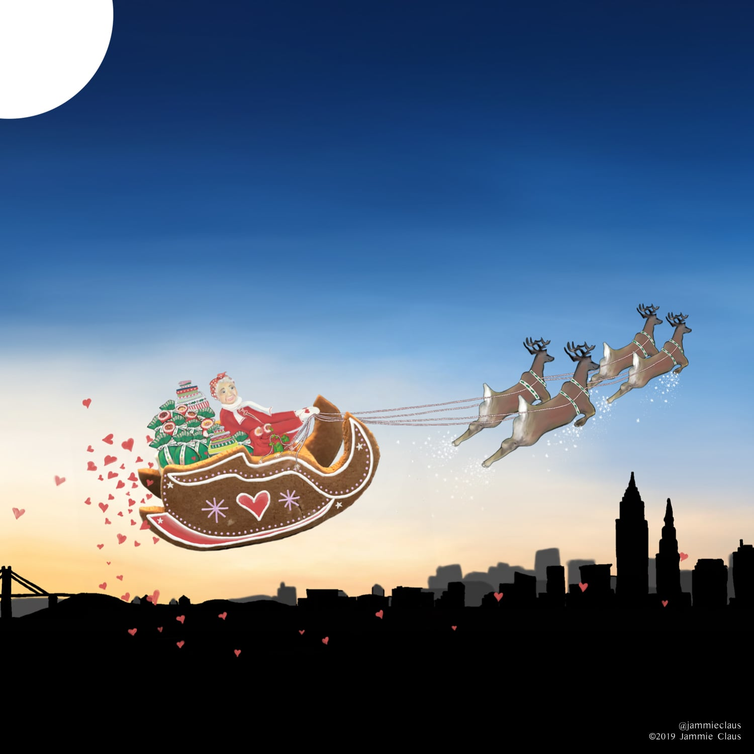 Jammie Claus and her Gingerbread Sleigh Flying in the Sky