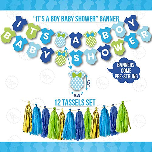 Boy Baby Shower Decorations | Blue Gold Green White | Rain Meadow