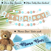 RainMeadow Teddy Bear Baby Shower Decorations for Boy It's A Boy Banner, Sash, Guestbook, Favour Stickers, Game Cards, Paper Lanterns, Honeycombs, Pom-poms, Cake Toppers, Balloons | Rain Meadow