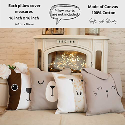RainMeadow Kids Throw Pillow Cover Set of 4, 16'x16', Cute Cotton Cushion Covers for Girls and Boys, Toddlers or Baby | Decorative Pillows for Kids | Cojines Decorativos Niña o Niño | Rain Meadow