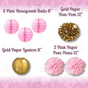 Girl Baby Shower Decorations | Pink and Gold | Rain Meadow