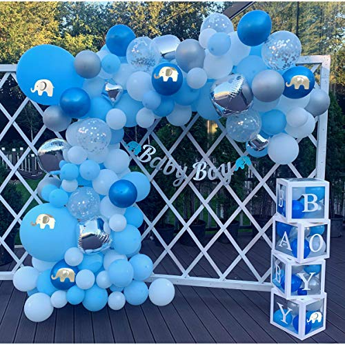 176 pc Baby Shower Decorations for Boy, Birthday Boy, 2 in 1 Set - Balloon Garland Arch, Balloons Boxes and Banner, Elephant Baby Shower and Birthday Decorations | Rain Meadow