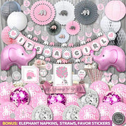 Girl Baby Shower Decorations | Elephant Theme | Rain Meadow