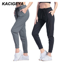 Load image into Gallery viewer, Female Sportswear Trousers Nylon Quick Dry Running Pants Pocket Yoga Pants Loose Breathable Women Drawstring Training Jogging