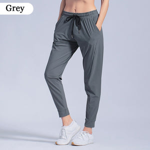 Female Sportswear Trousers Nylon Quick Dry Running Pants Pocket Yoga Pants Loose Breathable Women Drawstring Training Jogging