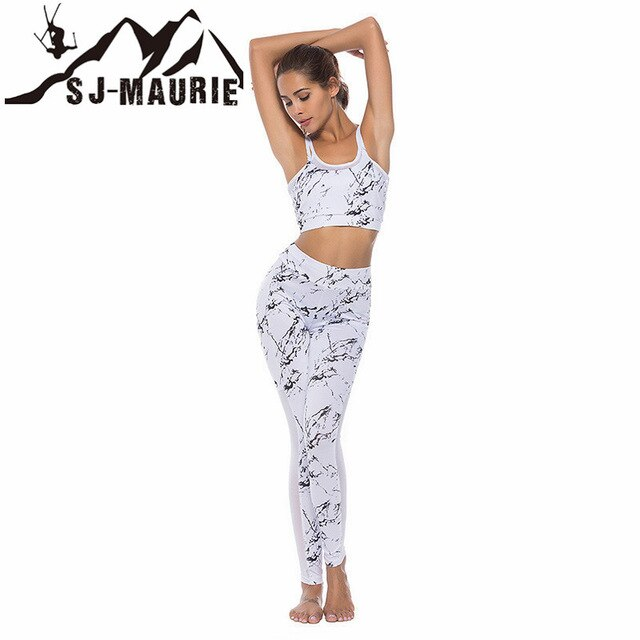 SJ-Maurie Sport Running Set Sling Prited Women Jogging Sets with Vest and Leggings Suit  Clothing Conjunto Esportivo Mulheres