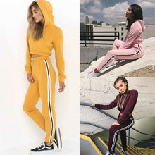 Load image into Gallery viewer, Sport Suit Tracksuit Long Sleeve Women Stripe Running Set Winter Fall Jogging Sweat Pants 2pcs Sportswear Female Sport Suits
