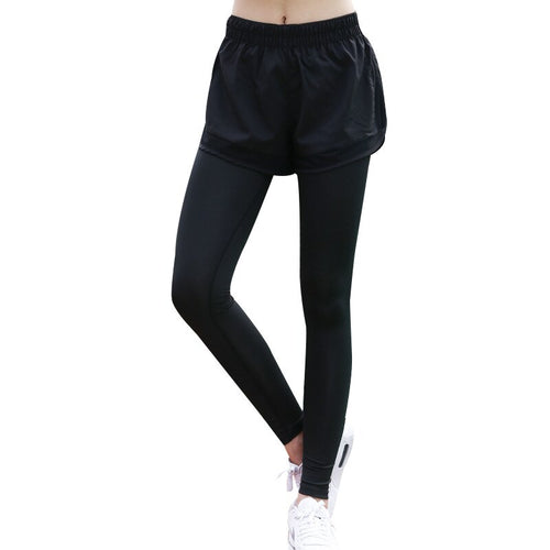 Women Jogging Pants Sport Fake Two-piece Ankle-Length Pants Yoga Fitness Running Sportswear