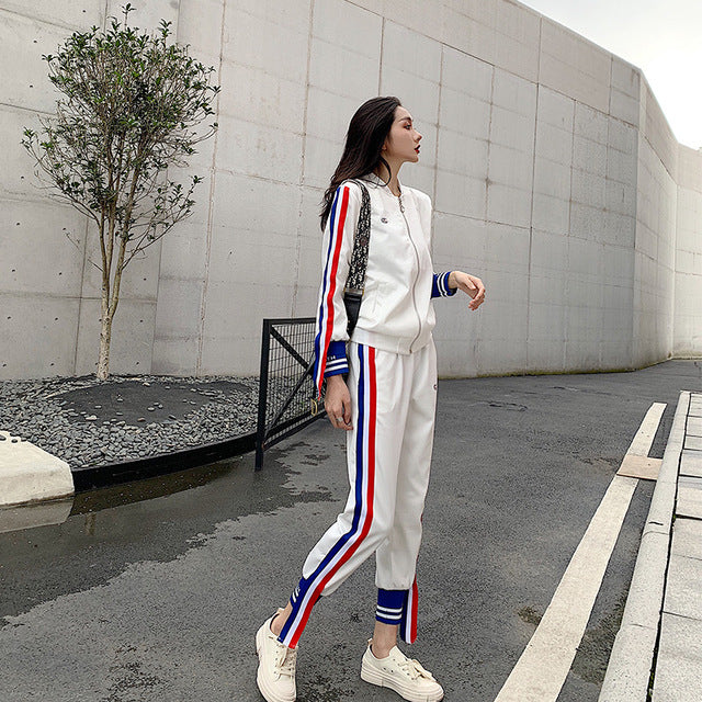 Woman sport suit stripe gym Running jogging coat + pants set loose comfortable casual jacket