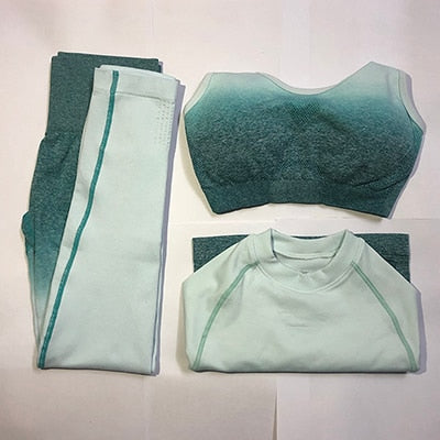 Ombre Seamless Leggings+Sports Bra+Long Sleeve Crop Top 3Pcs Yoga Set Women Running Gym Clothing High Waist Fitness Sports Suit