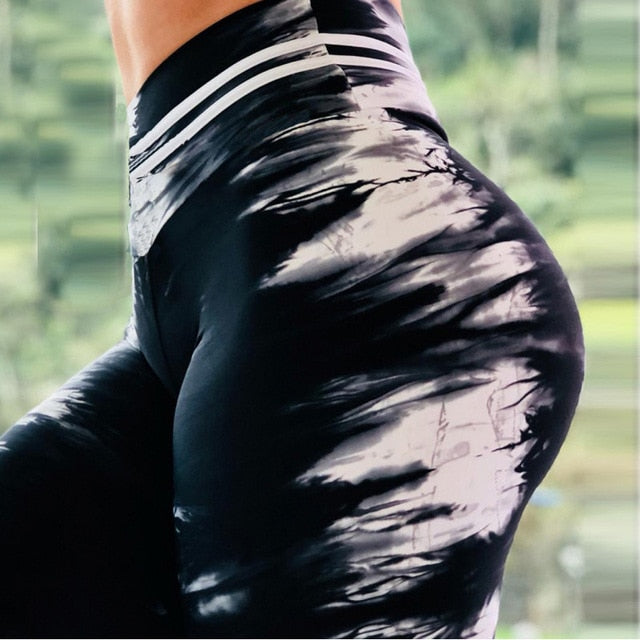 New Women Yoga Leggings High Quality Push Up Elastic Workout Scrunch Booty Pants High Waist Water droplets Tight Legging S-XL